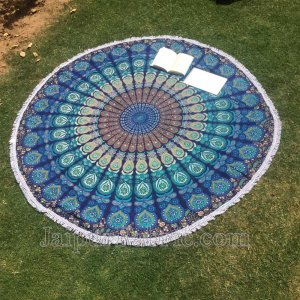 "Round Tapestry Roundie Indian Mandala Round Beach Throw Tapestry Hippy Boho Gypsy Cotton Table Cover Sofa Bed Throw, 72"" Round"
