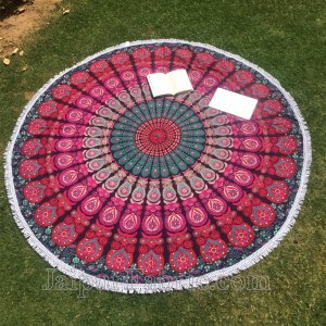 Tapestry Hippie Indian Round Mandala Beach Blanket Picnic Table Cover Spread Boho Gypsy Cotton Tablecloth Beach Towel Meditation Rug Circle Yoga Mat - 72 Inches,