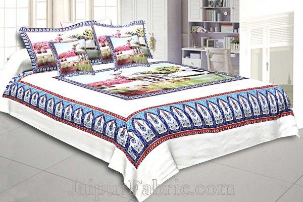 Digital Print Silk Bedsheet Udaipur Saheliyo ki Bari