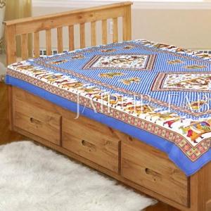 Blue Base Jaipur doli design with elephant Print Single Bedsheet