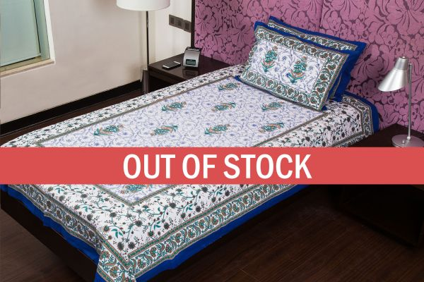 Blue Floral Print Cotton Single Bed Sheet