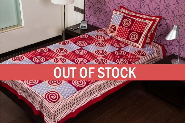 Maroon Base Clay Color Rangoli Print Cotton Single Bed Sheet