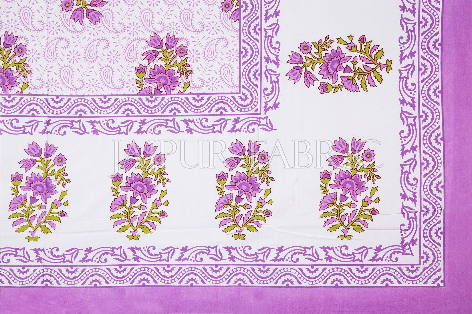 White Base Purple Floral Print Cotton Single Bed Sheet