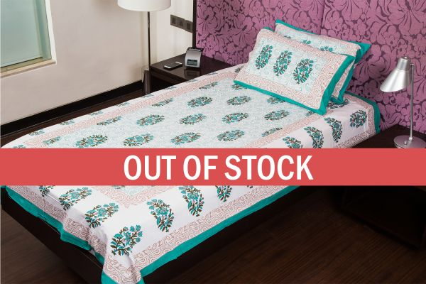 White Base Bluish Green Floral Print Cotton Single Bed Sheet