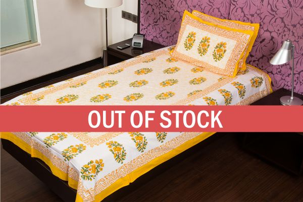 White Base  Yellow Print Cotton Single Bed Sheet