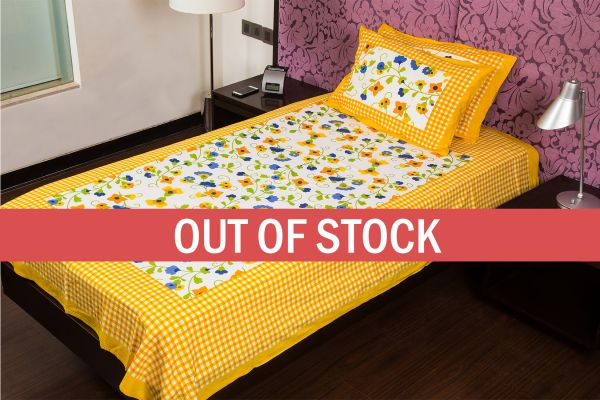 Yellow Checks White Base Floral Print  Single Cotton Bed sheet