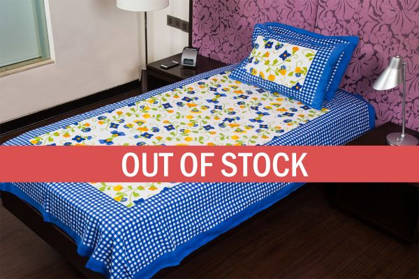 Blue Checks White Base Floral Print Single Cotton Bed sheet