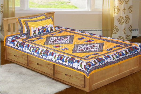 Yellow Base Jaipur Doli Design with Elephant Print Single Bed Sheet