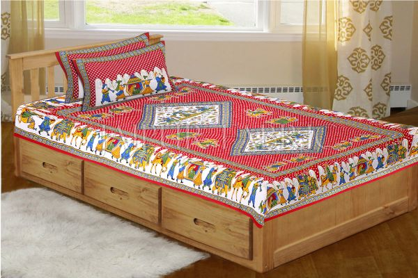 Maroon Base Jaipur Doli Design with Elephant Print Single Bed Sheet