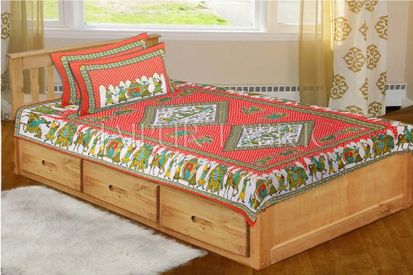 Orange Base Jaipur Doli Design with Elephant Print Single Bed Sheet