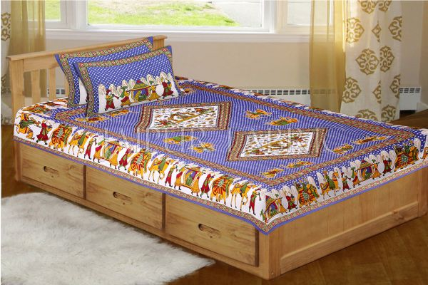 Blue Base Jaipur Doli Design with Elephant Print Single Bed Sheet