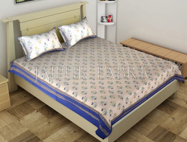 Blue Border Trellis Base Floral Printed Cotton Single Bed Sheet