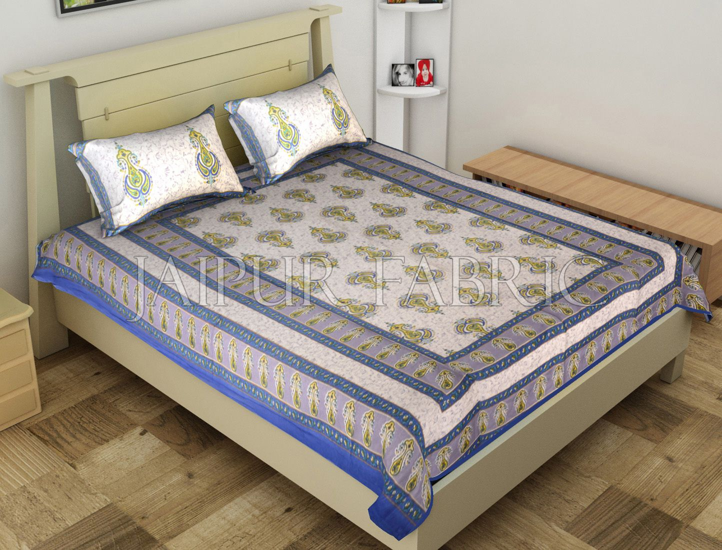 Blue Jaipuri Keri Printed Cotton Single Bed Sheet