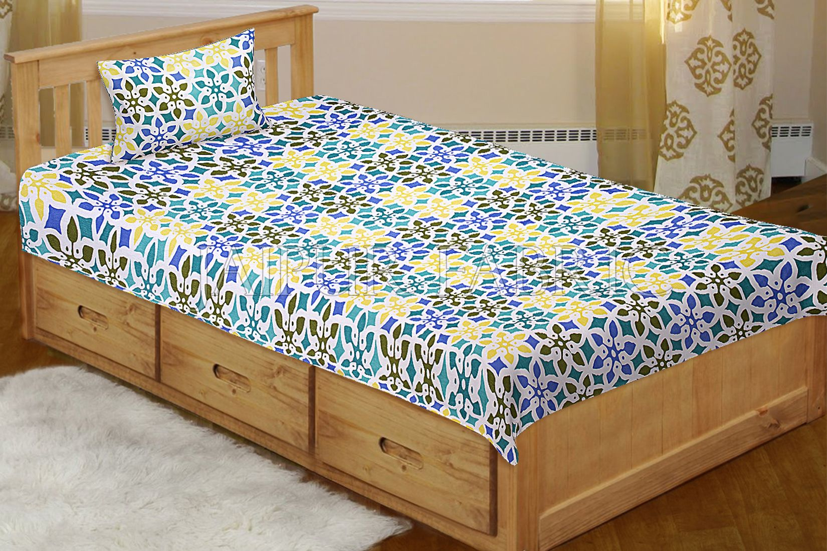 Multi Color Floral Printed Cotton Single Bed sheet