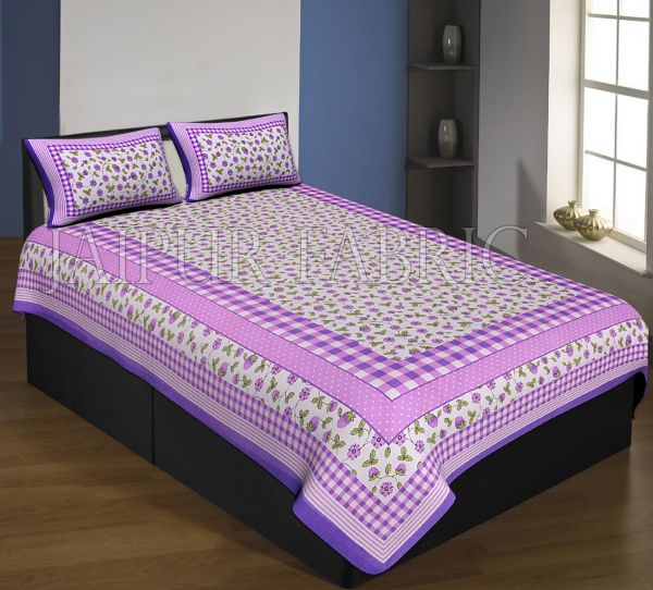 Purple Boarder With Check Print And Dot Flower Pattern Single Bed Sheet With 2 Pillow Cover