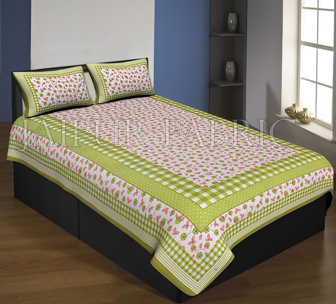Green Boarder With Check Print And Dot Flower Pattern Single Bed Sheet With 2 Pillow Cover