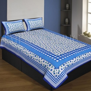 Blue Boarder With Check Print And Dot Flower Pattern Single Bed Sheet With 2 Pillow Cover