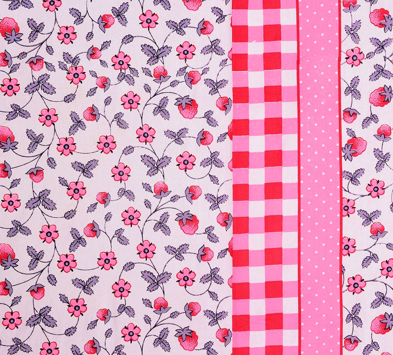 Red Boarder With Check Print And Dot Flower Pattern Single Bed Sheet With 2 Pillow Cover