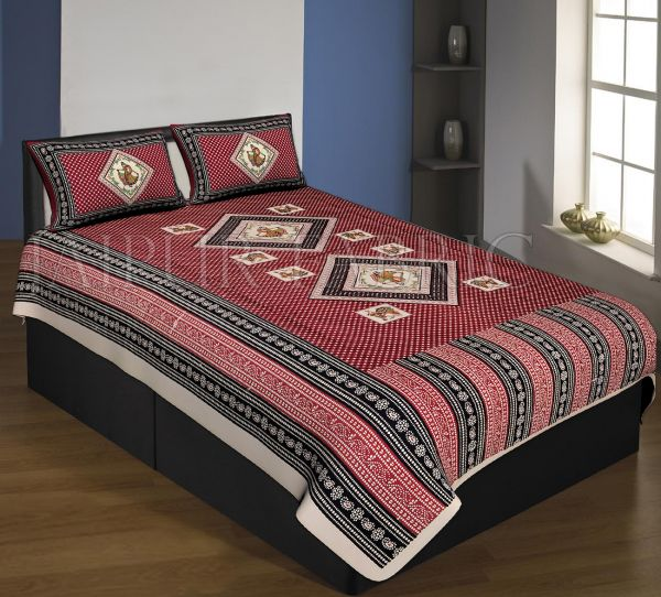Cream Boarder Mahroon Base With Tiny Bandej Print Single Bed Sheet With 2 Pillow Cover
