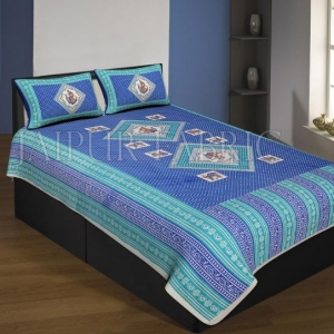 Cream Boarder Navy Blue Base With Tiny Bandej Print Single Bed Sheet With 2 Pillow Cover