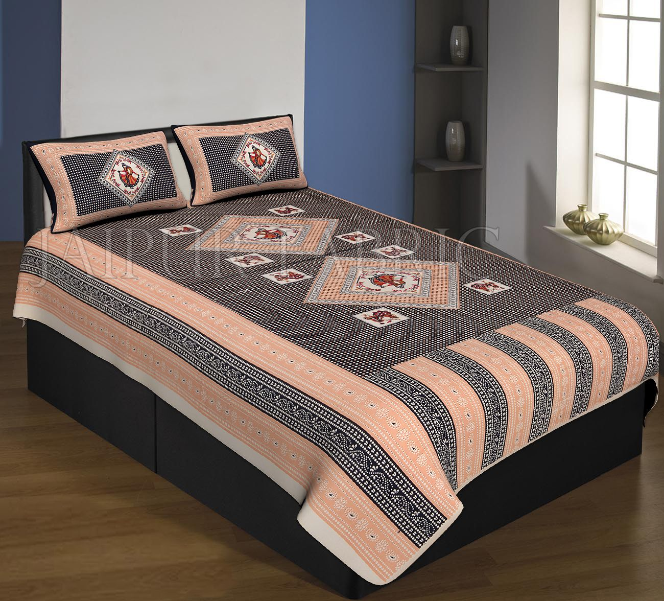 Cream And Light Brown Boarder Black Base With Tiny Bandej Print Single Bed Sheet With 2 Pillow Cover