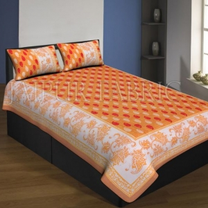 Brown Boarder Orange Base With Flower And Leaf Print Single Bed Sheet With 2 Pillow Cover