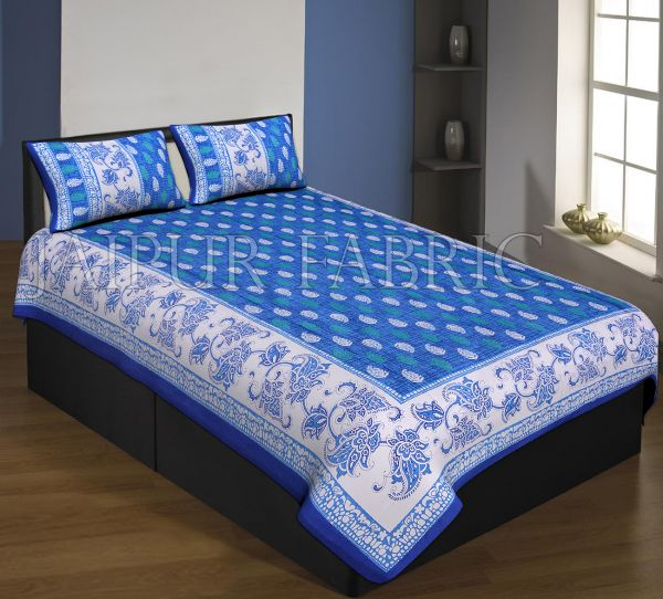 Navy Blue Boarder And Base With Flower And Leaf Print Single Bed Sheet With 2 Pillow Cover