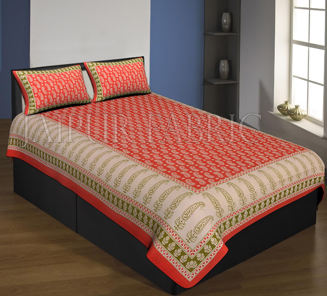 Red And Cream Boarder With Long Leaf Pattern Single Bed Sheet With 2 Pillow Cover