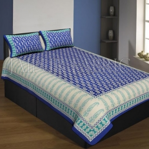 Navy Blue And Cream Boarder With Long Leaf Pattern Single Bed Sheet With 2 Pillow Cover
