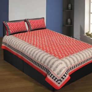 Orange And Cream Boarder With Long Leaf Pattern Single Bed Sheet With 2 Pillow Cover