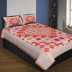 Brown Boarder Cream Base With Paan And Rangoli Pattern Single Bed Sheet With 2 Pillow Cover