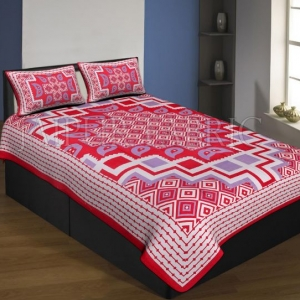 Red Boarder Cream Base With Paan And Rangoli Pattern Single Bed Sheet With 2 Pillow Cover