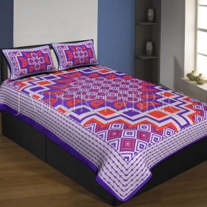 Purple Boarder Cream Base With Paan And Rangoli Pattern Single Bed Sheet With 2 Pillow Cover