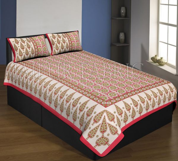 Red Boarder Cream Base With Green Leaf And Flower Pattern Single Bed Sheet With 2 Pillow Cover