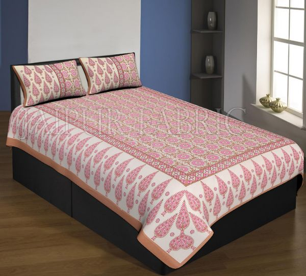 Brown Boarder Cream Base With Pink Leaf And Flower Pattern Single Bed Sheet With 2 Pillow Cover