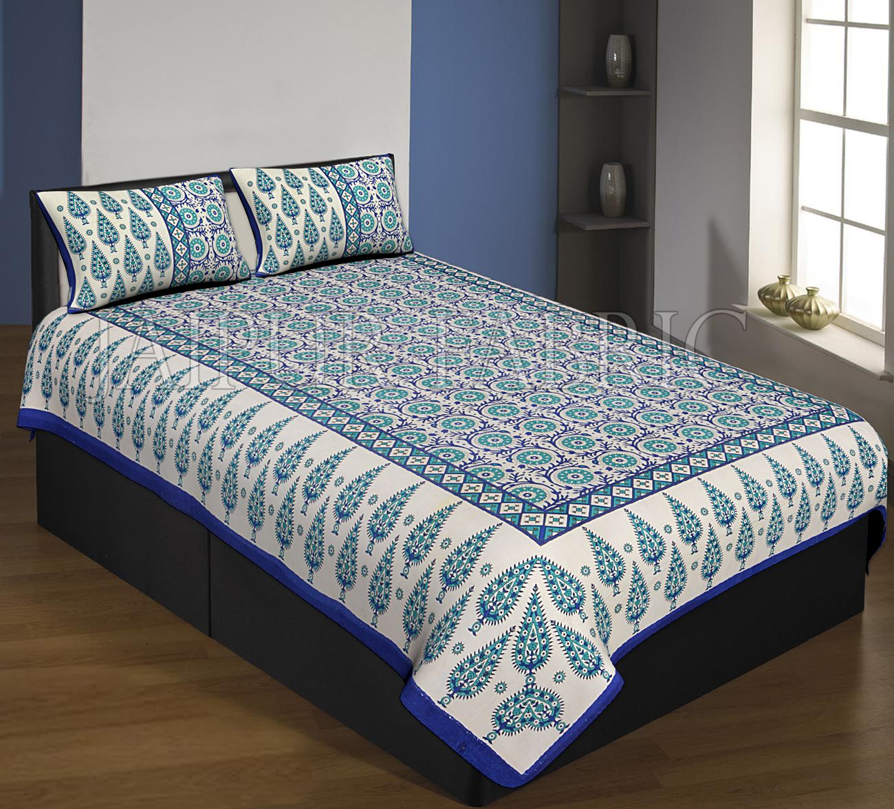 Navy Blue Boarder Cream Base With Navy Blue Leaf And Flower Pattern Single Bed Sheet With 2 Pillow Cover