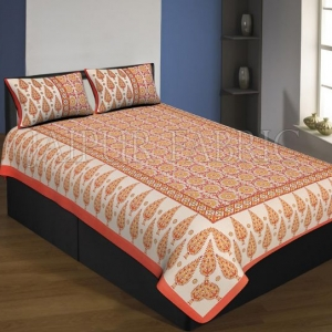 Orange Boarder Cream Base With Yellow Leaf And Flower Pattern Single Bed Sheet With 2 Pillow Cover
