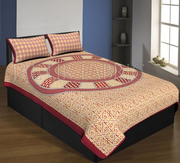 Mahroon Boarder Cream Base Circle Design With Leaf Pattern Single Bed Sheet With 2 Pillow Cover