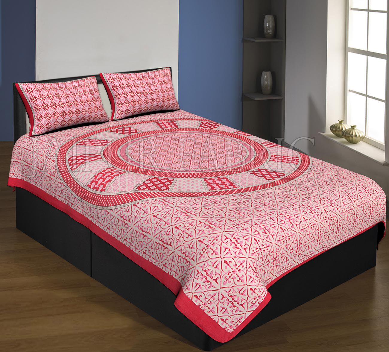 Red Boarder Cream Base Circle Design With Leaf Pattern Single Bed Sheet With 2 Pillow Cover