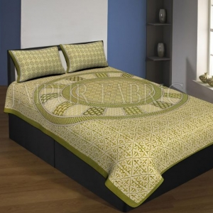 Green Boarder Cream Base Circle Design With Leaf Pattern Single Bed Sheet With 2 Pillow Cover