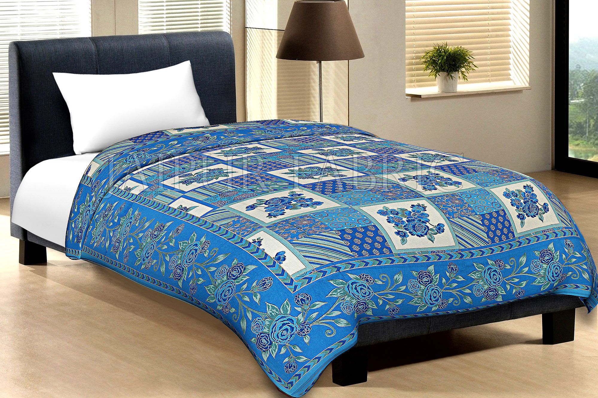 Blue Border Cream Base Flower And Check With Golden Shining Print Cotton Single Bed Sheet With Out Pillow Cover