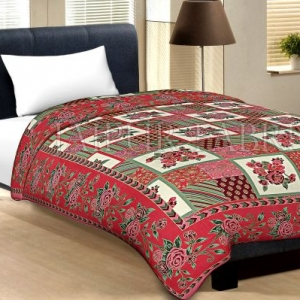 Red Border Cream Base Flower And Check With Golden Shining Print Cotton Single Bed Sheet With Out Pillow Cover