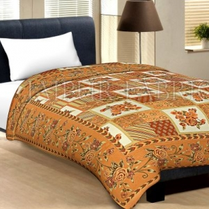 Musterd Border Cream Base Flower And Check With Golden Shining Print Cotton Single Bed Sheet With Out Pillow Cover