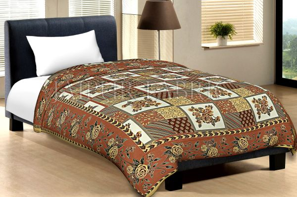 Brown Border Cream Base Flower And Check With Golden Shining Print Cotton Single Bed Sheet With Out Pillow Cover