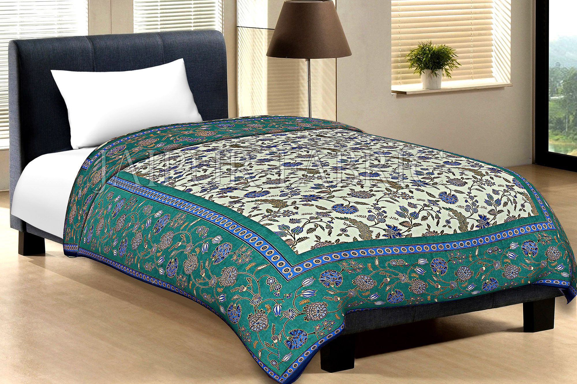 Green Border With Navy Blue Edge Cream Base Leaf And Flower Golden Print Cotton Single Bed Sheet With Out Pillow Cover