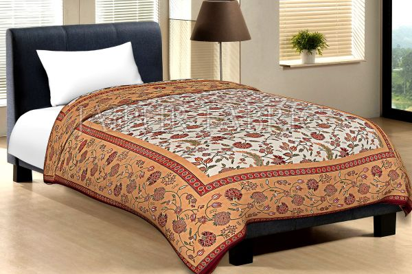 Brown Border With Mahroon Edge Cream Base Leaf And Flower Golden Print Cotton Single Bed Sheet With Out Pillow Cover