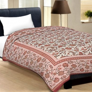 Pink Border With Dark Brown Edge Cream Base Leaf And Flower Golden Print Cotton Single Bed Sheet With Out Pillow Cover