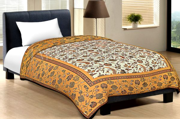 Yellow Border With Black Edge Cream Base Leaf And Flower Golden Print Cotton Single Bed Sheet With Out Pillow Cover