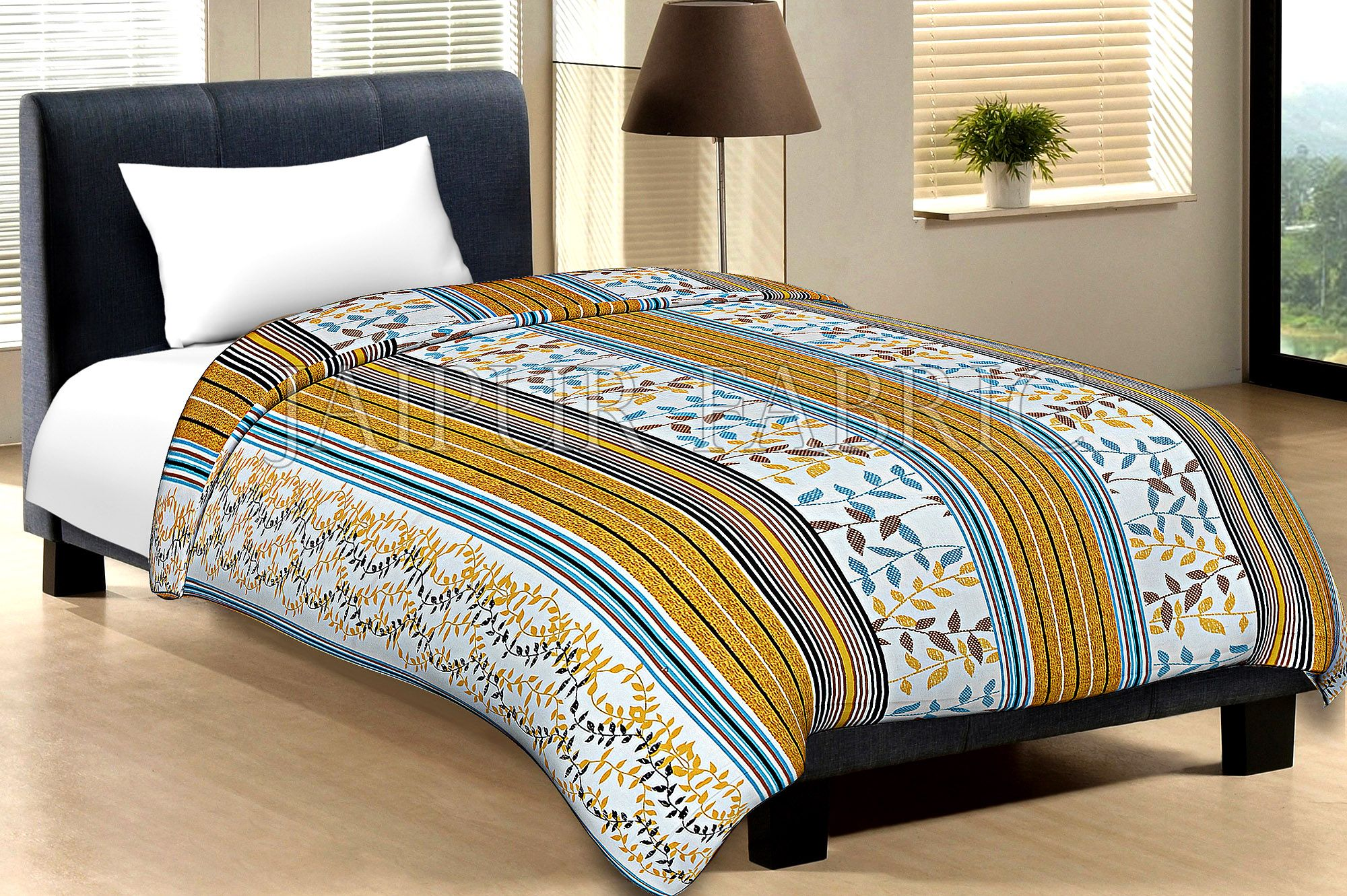 White Base Yellow And Multi Colour Lining With Leaf Pattern Cotton Single Bed Sheet without pillow Cover