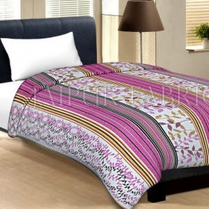 White Base Pink And Multi Colour Lineing With Leaf Pattern Cotton Single Bed Sheet without pillow Cover